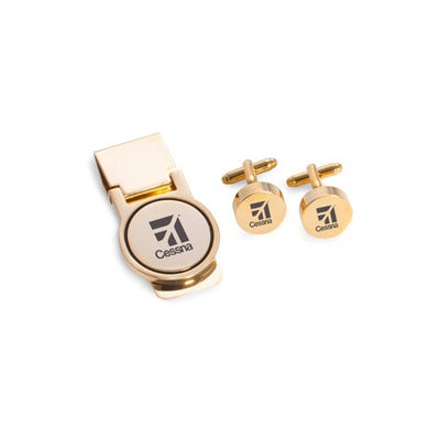 Cufflink & Money Clip Set, Gold Plated
